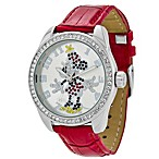 Ladies Disney® Ingersoll Classic Time Minnie Diamante Watch with Red Wrist Strap