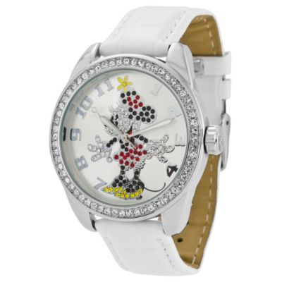 Disney® Classic Time Minnie Diamante Watch with White Wrist Strap