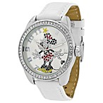 Disney® Ingersoll Classic Time Minnie Diamante Watch with White Wrist Strap