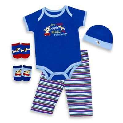 "Baby Essentials Boys 5-Piece ""The Relatives"" Layette Set in 3-6M"