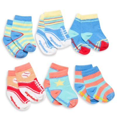 Elegant Baby® 6-Pack Happy Toes Socks