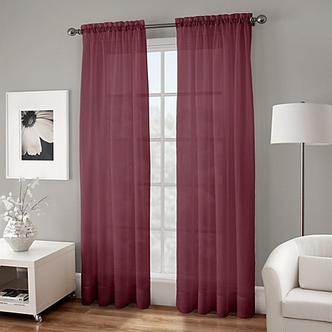 Crushed Voile Sheer 120-Inch Rod Pocket Window Curtain Panel in Burgundy