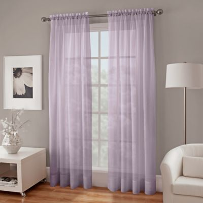 Crushed Voile Sheer 108-Inch Window Curtain Panel in Lavender