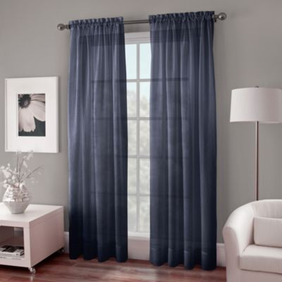 Crushed Voile Sheer 72-Inch Rod Pocket Window Curtain Panel in Grey