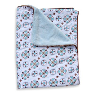 Caden Lane® Modern Vintage Small Moroccan Print Piped Blanket in Blue