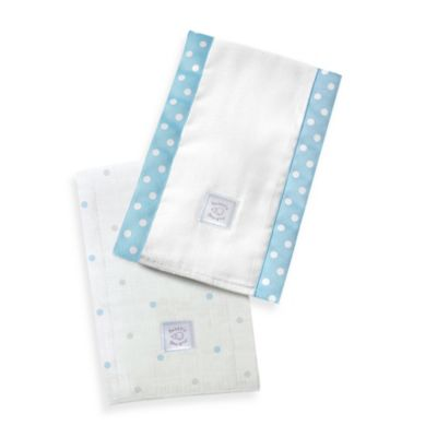 Swaddle Designs® Sterling Little Dots Baby Burpies® in Pastel Blue (Set of 2)