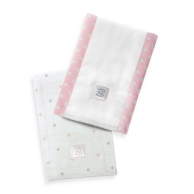 Swaddle Designs® Sterling Little Dots Baby Burpies® in Pastel Pink (Set of 2)