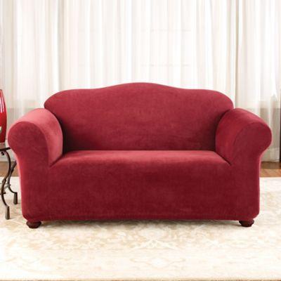 Sure Fit® Stretch Piqué Loveseat Slipcover in Garnet