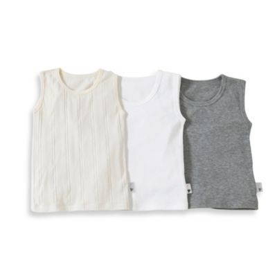 Burt's Bees Baby™ Size 2T 3-Pack Organic Cotton Muscle T-Shirt in Ivory/White/Grey
