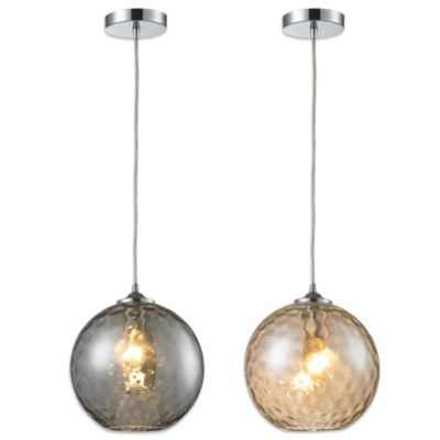 HGTV Home Watersphere 1-Light Pendant in Polished Chrome with Smoke Glass and Recessed Adapter Kit