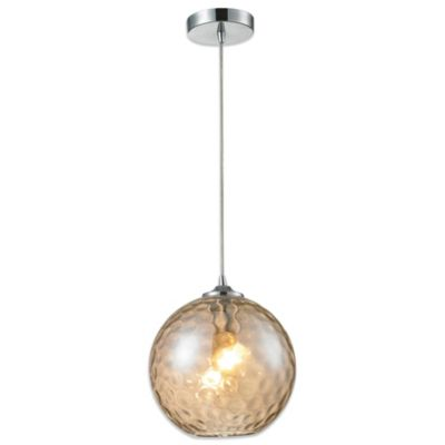 HGTV Home Watersphere 1-Light Pendant Light in Polished Chrome with Champagne Glass