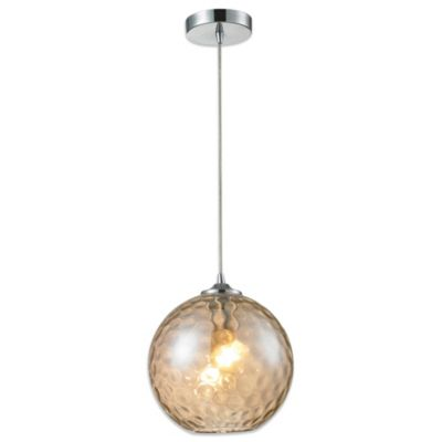 HGTV Home 1-Light Pendant Light in Polished Chrome with Champagne Glass and Recessed Adapter Kit
