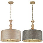 HGTV Home Nathan 3-Light Pendant in Washed Pine with Linen Shade and Adaptor Kit
