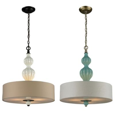 Lilliana 3-Light Pendant in Cream and Aged Bronze with Adaptor Kit