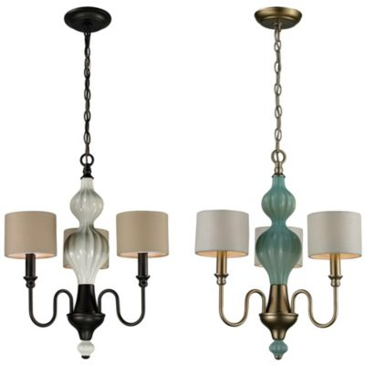 Lilliana 3-Light Pendant Chandelier in Cream and Aged Bronze with Adapter Kit