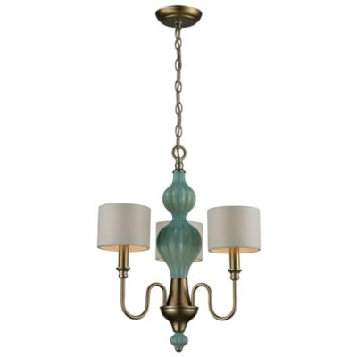 Lillliana 3-Light Pendant Chandelier in Seafoam and Aged Silver
