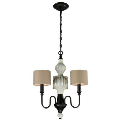 Lilliana 3-Light Pendant Chandelier in Cream and Aged Bronze