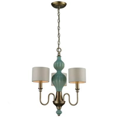 Lilliana 3-Light Pendant Chandelier in Seaform and Aged Silver with Adapter Kit