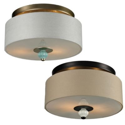 Lilliana 2-Light Semi-Flush Mount in Cream and Aged Bronze