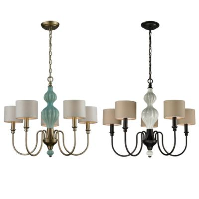 Lilliana 5-Light Chandelier in Cream and Aged Bronze