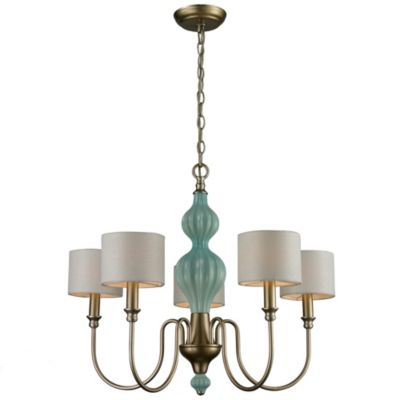 Lilliana 5-Light Chandelier in Seafoam and Aged Silver