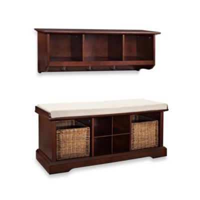 Crosley Brennan 2-Piece Entryway Bench & Shelf Set in Mahogany