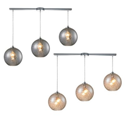 HGTV Home Watersphere 3-Light Pendant Light in Polished Chrome with Champagne Glass