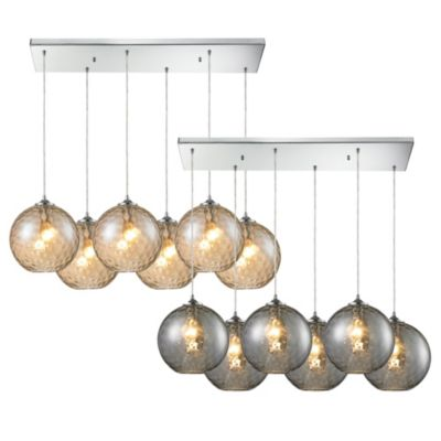 HGTV Home Watersphere 6-Light Pendant Light in Polished Chrome with Smoke Glass