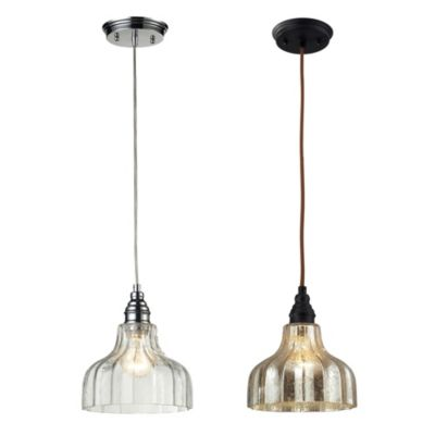 Danica 1-Light Pendant Light with Mercury Glass and Oiled Bronze Finish