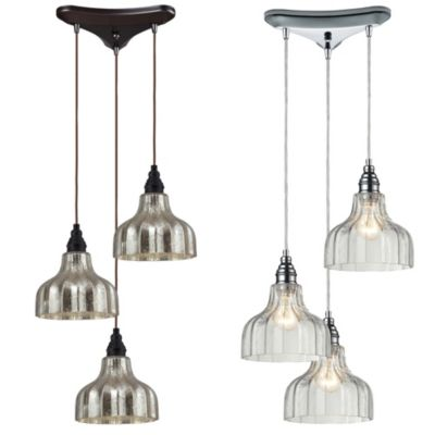 Danica 3-Light Pendant Light with Mercury Glass and Oiled Bronze Finish