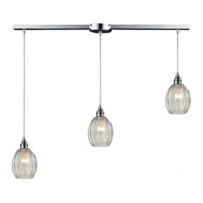 Danica 3-Light Pendant Light with Clear Glass and Polished Chrome Finish