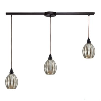 Danica 3-Light Pendant Light with Mercury Glass and Oiled Bronze