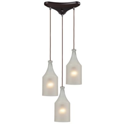 HGTV Home Skylar 3-Light Pendant Light in Oiled Bronze with Frosted Glass Shades