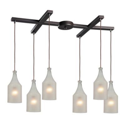 Skylar 6-Light Pendant Light in Oiled Bronze with Frosted Glass Shades
