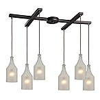 HGTV HOME Skylar 6-Light Pendant Light in Oiled Bronze with Frosted Glass Shades
