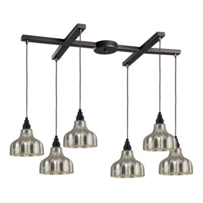 Danica 6-Light Pendant Light with Mercury Glass and Oiled Bronze Finish