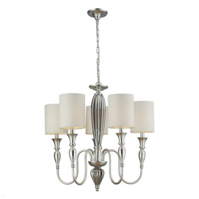 HGTV Home 5-Light Chandelier in Chrome and Silver Leaf