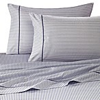 Wamsutta® 400 Thread Count Stripe Printed Queen Sheet Set in Blue Jean