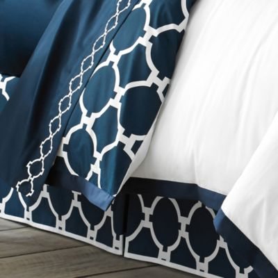 Jill Rosenwald Hampton Links Full Bed Skirt in Navy/White