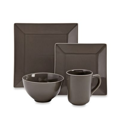 Real Simple® Square 4-Piece Place Setting in Smoke