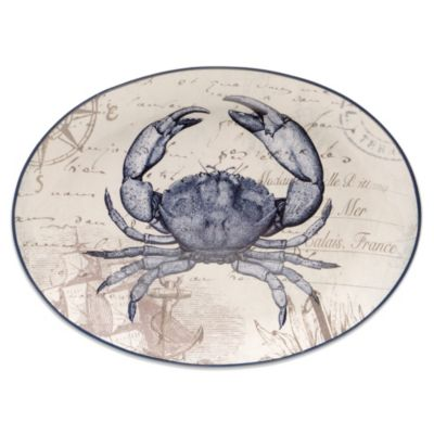 Certified International Coastal Postcards 15.75-Inch x 11.75-Inch Oval Platter