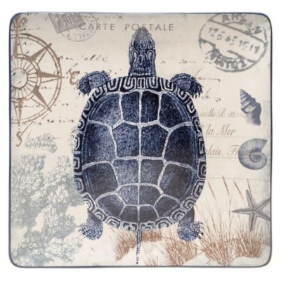 Certified International Coastal Postcards 14.5-Inch Square Platter