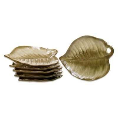 Certified International Las Palmas 3D Palm Leaf Dessert Plate