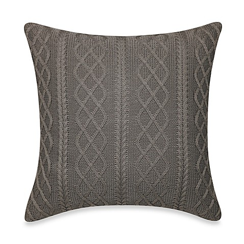 Grey Knit Throw Pillow : Real Simple Tyler Knit Square Throw Pillow in Grey - Bed Bath & Beyond