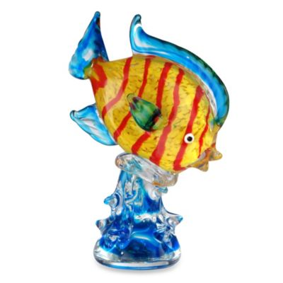 Art Glass 9.5-Inch Clown Fish Sculpture