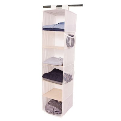 E-Z Do 6-Shelf Over-the-Rod Hanging Organizer in Striped Print