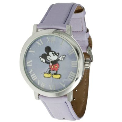 Disney® Ladies Classic Time Presentation Mickey Watch with Purple Wrist Strap