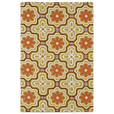 Kaleen Matira Flower 3-Foot x 5-Foot Area Rug in Gold