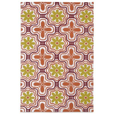Kaleen Matira Flower 2-Foot x 6-Foot Area Rug in Tangerine