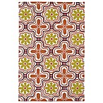 Matira Flower Indoor/Outdoor Area Rug in Tangerine